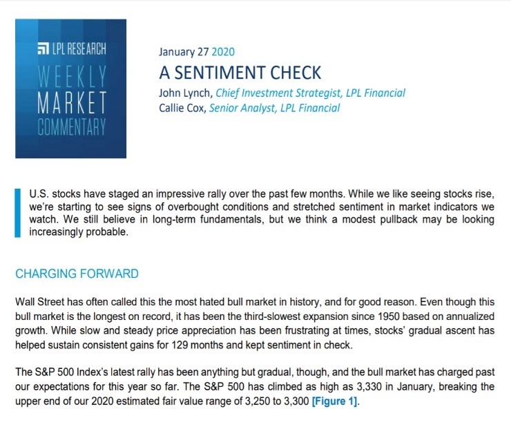 A Sentiment Check | Weekly Market Commentary | January 27, 2020