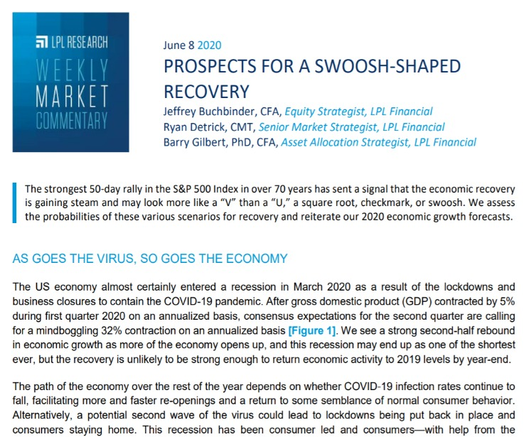 Prospects for a Swoosh-Shaped Recovery | Weekly Market Commentary | June 8, 2020