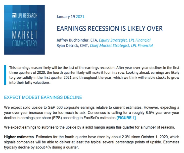 Earnings Recession is Likely Over   Weekly Market Commentary   January 19, 2021