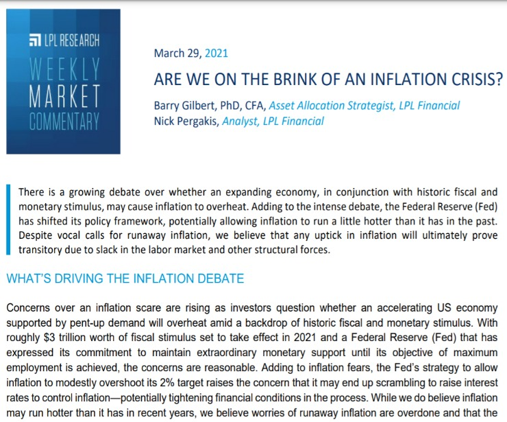 The Brink of an Inflation Crisis?   Weekly Market Commentary   March 29, 2021